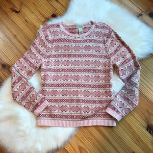 L.L. Bean Pink Stripe Pattern Sweater Size M